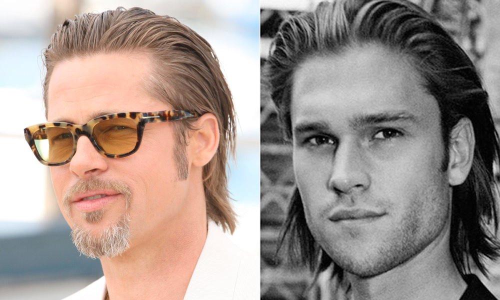 efecto mojado pelo largo hombre
