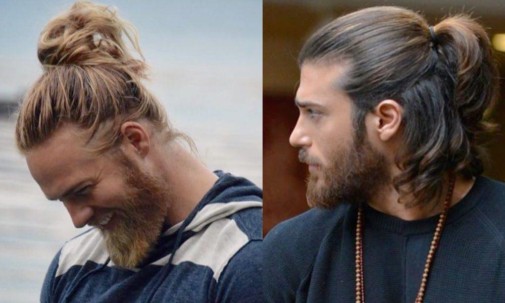 moño o semirecogido pelo largo hombre